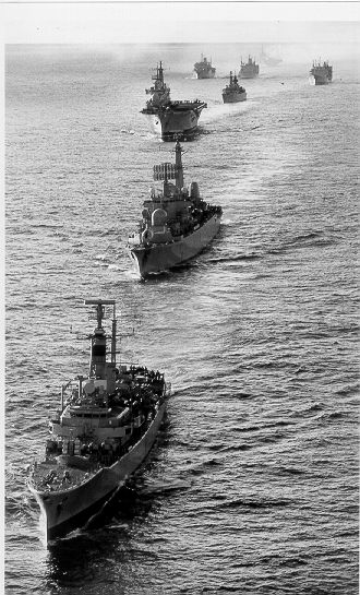 Nothing to do with this subject really.  I was in Andromeda during the 1982 Falklands War and this shows her leading the ships which took part in a VICTORY sail past off the Falkland Islands.