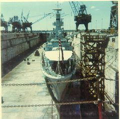 In dry dock having a propellor problem sort out.  Place, Oahu, Pearl Harbour, Hawaii.