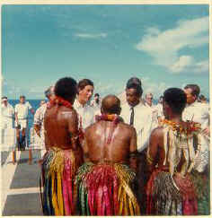 On the flight deck of Jupiter. HRH chats with Fijians about matters of local ceremonies.